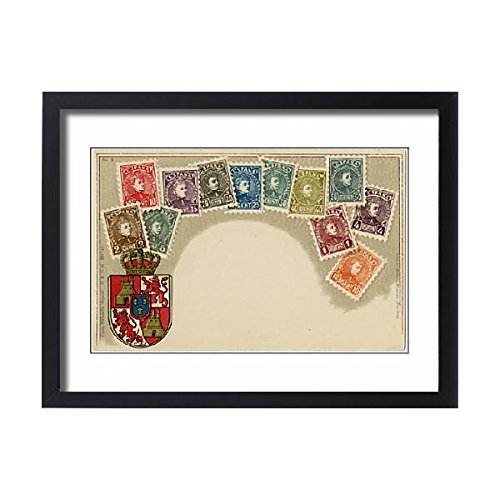 Framed 24x18 Print of Stamp Card produced by Ottmar Zeihar - Spain (14393777) by Prints Prints Prints