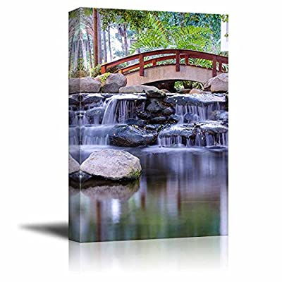 Canvas Prints Wall Art - Mini Waterfall in The Gaden | Modern Wall Decor/Home Art Stretched Gallery Wraps Giclee Print & Wood Framed. Ready to Hang - 36