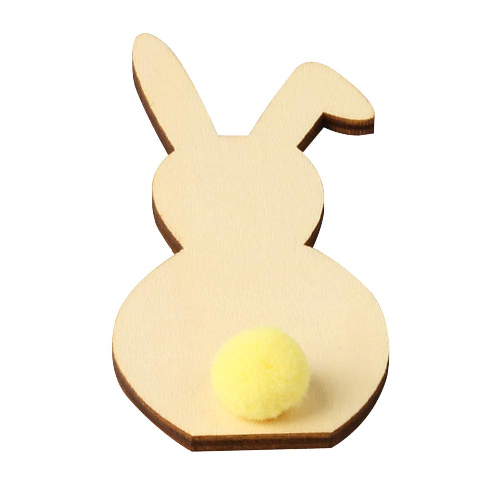 Giallo Ornamenti con PON PON PON per Feste pasquali Amosfun Decorazioni pasquali in Legno Grezzo Coniglietto Pasquale