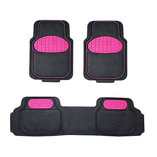 FH Group F11500 Touchdown Floor mats Full Set Rubber Floor Mats, Pink/Black Color- Fit Most Car, Truck, Suv, or Van
