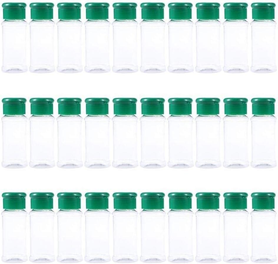 TONGDAUR Vaciar Botellas de la Especia Botella de plástico 30pcs condimento dispensador de Pimienta coctelera Sal Tarro for el Restaurante Barbacoa Cocina (Color : Verde, Size : Gratis)