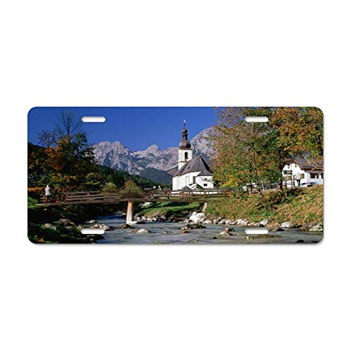 Mountain River in Ramsau Bavaria Germany Custom License Plate Aluminum - Decorative Auto Car Truck Front License Plate, Vanity Tag, 6 x 12 Inch