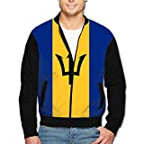 988Iron Flag Of Barbados Men's Full-Zipper Hoodie Jacket