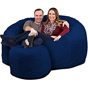 ULTIMATE SACK 6000 Bean Bag Chair w/Footstool: Giant Foam-Filled Furniture – Machine Washable Covers, Double Stitched…