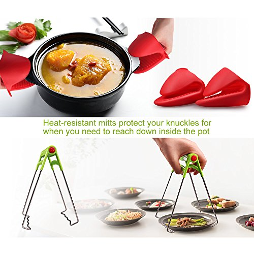 7-pcs Accessories for Instant Pot 5,6, 8 Qt, Steamer Basket, Egg Steamer Rack, Non-Stick Springform Pan, Steaming Stand, Silicone Spoonula,1 Pair Silicone Cooking Pot Mitts by Homtant by Homtant (Image #2)