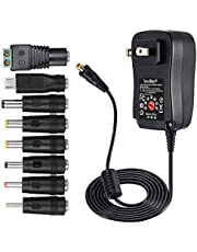 [Upgraded Version] SoulBay 30W Universal AC/DC Adapter Switching Power Supply with 8 Selectable Adapter Tips, Including Micro USB Plug, for 3V to 12V Household Electronics and LED Strip - 2000mA Max