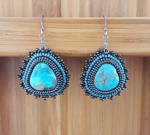 Real Turquoise Earrings, Nacozari Turquoise, Cynthia Fox Design, - Earrings Fox Turquoise
