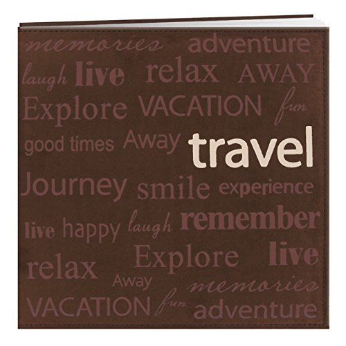 Pioneer 12-Inch by 12-Inch Text Faux Suede Scrapbook, Travel