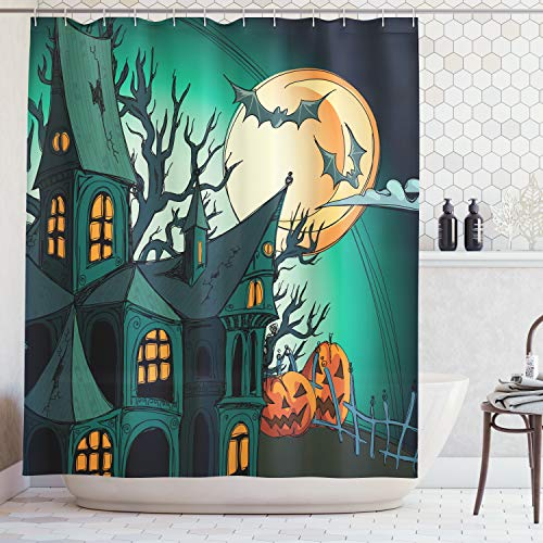 Ambesonne Halloween Decorations Shower Curtain Set, Haunted Medieval House Theme Cartoon Bats in Twilight Gothic Fiction Spooky Art, Bathroom Accessories, 75 Inches Long, Orange Teal ()
