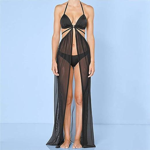 Maxi falda de playa de malla transparente para mujer, color liso ...
