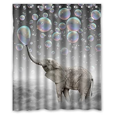 "Custom Elephant Waterproof Polyester Fabric Bathroom Shower Curtain Standard Size 72(w)x72(h) - 100% Polyester Measures approximately 72""(w) x 72""(h) Has 12 holes to which rings attach - shower-curtains, bathroom-linens, bathroom - 51iDZ7AV30L. SS400  -"