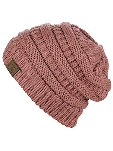 C.C Trendy Warm Chunky Soft Stretch Cable Knit Beanie Skully, Mauve