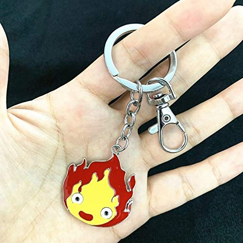 Momoso_Store howl's moving castle calcifer metal keychain key rings necklace cosplay accessories gift