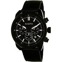 Bulova #98B280 Men's Black IP Chronograph Watch Changeable Strap Set