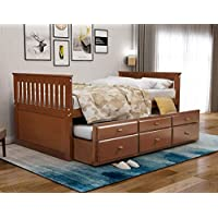 Rhomtree Storage Twin Daybed with Trundle and 3 Storage Drawers Platform Bed Frame with Headboard Footboard Kids Bed