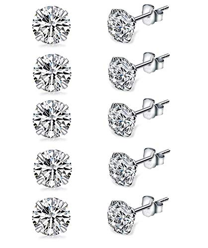Sterling Ear Silver Studs (Sterling Silver Studs Earrings, 5 Pairs, Round Cut AAA Cubic Zirconia Platinum-Plated Stud Earrings for Women & Men's, Fashion Tiny Hypoallergenic Earrings for Sensitive Ears (5 Pairs in 3mm))