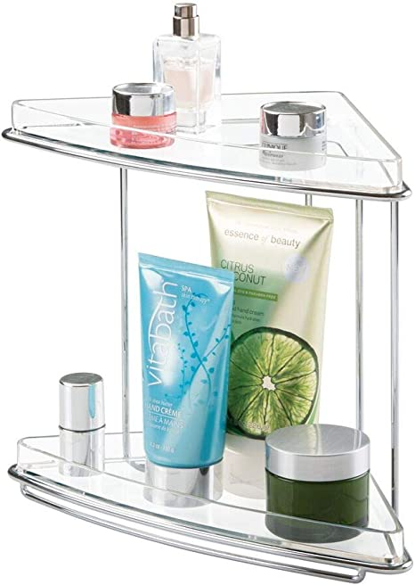 Amazon Com Mdesign Metal 2 Tier Corner Storage Organizing Caddy Stand For Bathroom Vanity Countertops Shelving Or Under Sink Free Standing 2 Shelves Clear Chrome Home Kitchen