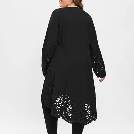 38e008349b32 Amazon.com  KFSO Women O-Neck Long Sleeve Plus Size Laser Cut High ...