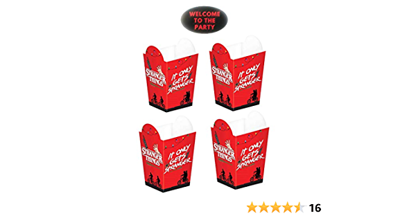 Stranger Things Party Favor Popcorn Boxes Set Of 16pcs With Party Sticker By Jpmd Toys Games