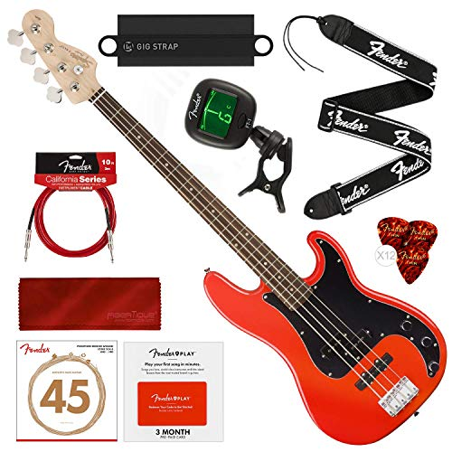 Squier by Fender Affinity Series Precision Bass PJ Beginner Electric Bass Guitar, Race Red Bundle with Fender Play Pre-Paid Card, Tuner, Strings, Picks, Deluxe Starters Pack