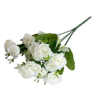 dezirZJjx Artificial Flowers 14 Heads/1 Pc Artificial Rose Flowers Bridal Bouquet Wedding Party Home Decor - White 99