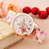 Women Watch,Haoricu Fashion Women Watch Silicone Flower Printed Causal Quartz Wrist Watches Gifts