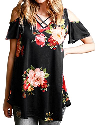 0af781db06ae8b Hibluco Women s Casual Off Shoulder Tops Lace up Blouses Floral Tunic Shirts  (X-Large
