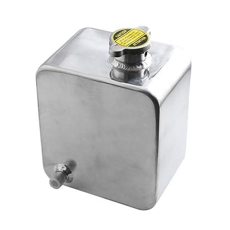 IPOTCH Tanque de Agua de Aluminio con Tapa Accesorios para Carro Autos - plata