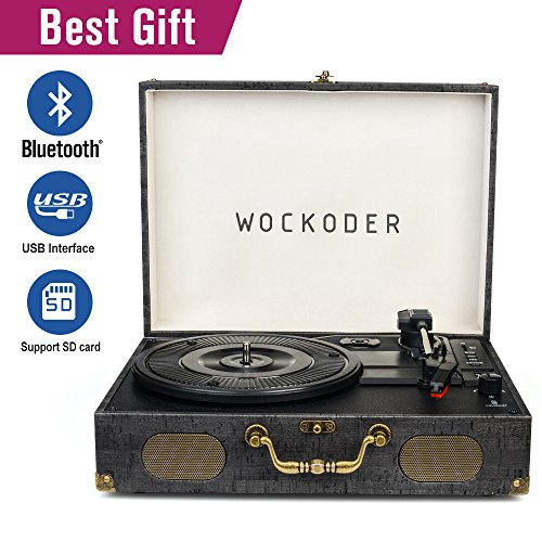 Wockoder Classic suitcase record vinyl Turntable player LP,Bluetooth,USB/SD play,built-in speakers,unique design portable suitcase turntable - Usb Classic Turntable
