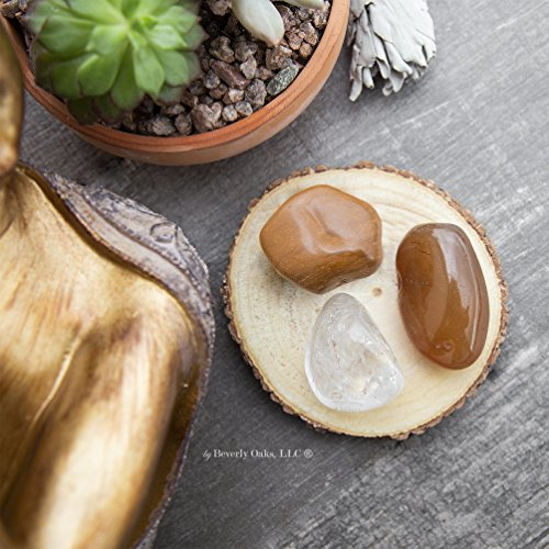 Beverly Oaks Energy Infused Large Tumbled Stones for Creativity & Motivation -  Carnelian, Yellow Jasper, Clear Quartz Healing Crystals - Natural Gemstones for Rituals, Meditation and Crystal Healing ()