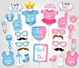 Rainlemon(TM) Gender Reveal Party Boy or Girl Photo Booth Props Kit On A Stick