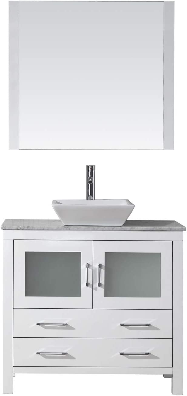 Virtu USA KS-70030-WM-WH-001 Dior 30 Single Bathroom Vanity in White with Marble Top and Square Sink with Brushed Nickel Faucet and Mirror, 30 inches,