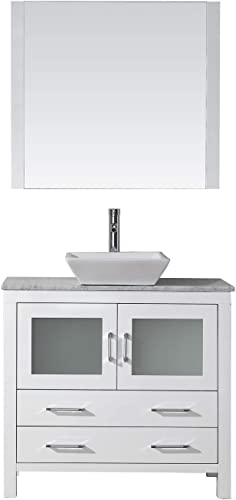 Virtu USA Dior 36 inch Single Sink Bathroom Vanity Set in White w Square Vessel Sink, Italian Carrara White Marble Countertop, Single Hole Polished Chrome, 1 Mirror – KS-70036-WM-WH
