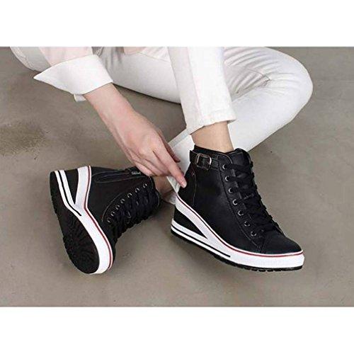 Epicstep Womens High Top Wiggen Schoenen Riem Buckled Zip Lace-up Casual Mode Sneakers Zwart
