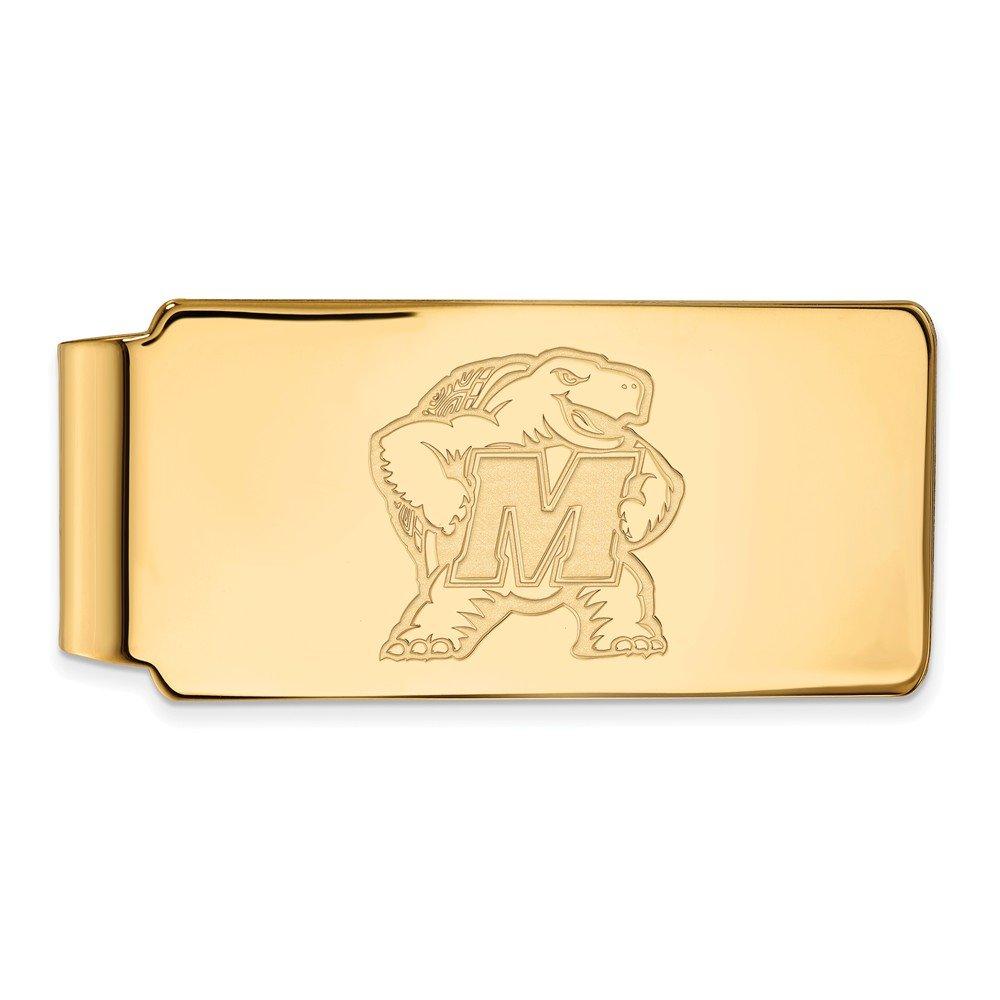 UM Money Clip 10k Yellow Gold LogoArt Official Licensed Collegiate University of Maryland