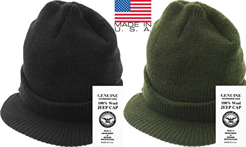 Genuine GI Official Military Wool Cold Weather Winter Knit Hat Jeep Watch  Cap (Black) 4daa8919421