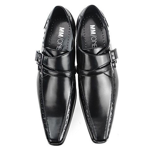 MM / ONE Herren Monkstrap Oxford Schuh Wasserabweisend Plain Toe Slip-on Medaillon Schwarz Braun Dunkelbraun Mpt293 Schwarz