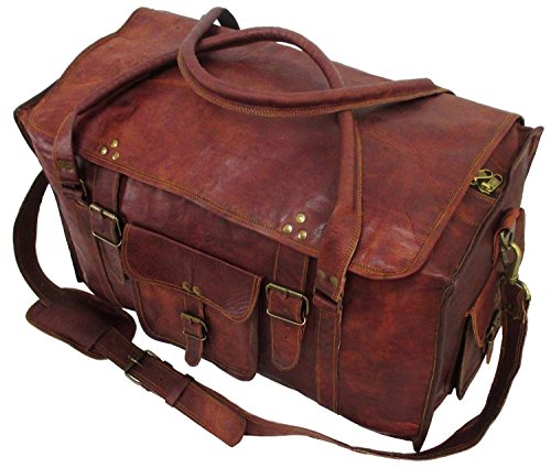 Leather Travel Duffel Bag for Men 21 inch Cabin Gym Sports Weekend Overnight Bag