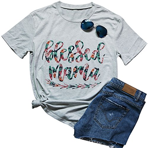 Blessed Arrow Letter Printed T-Shirt Women's Casual Round Neck Short Sleeve Tops Size M (Light Grey) -