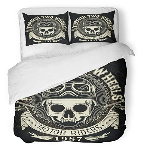 Emvency 3 Piece Duvet Cover Set Brushed Microfiber Fabric Breathable Motorcycle Vintage Biker Skull Emblem Helmet Patch Gang Motorbike Club Badge Bedding Set with 2 Pillow Covers Full/Queen Size