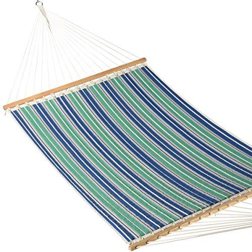 Caribbean Hammocks - Quilted Hammock (Green & Blue Stripe)