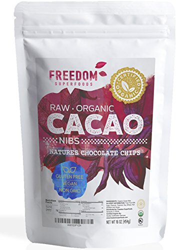 Raw Organic Cacao Nibs - Best Dark Chocolate Taste - 100% Pure Unsweetened Cocoa 1lb/ 16oz
