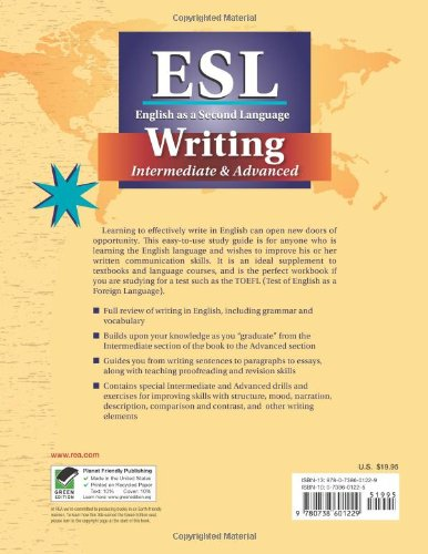 ESL Intermediate/Advanced Writing (English as a Second Language Series) by Brand: Research n Education Association