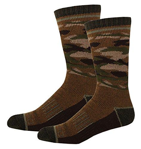 Dickies Men's 1 Pack Steel Toe Wool Blend Camo Crew Socks, Duck, 2 Pair (Wool Camo Sock)