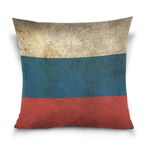 Vipsk Cushion Case Pillow Cover Pillowcase Square 18 x 18 Inch Velveteen Colombian Retro Flag