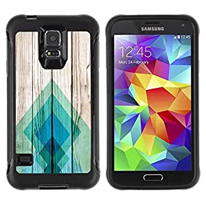 Suave TPU Caso Carcasa de Caucho Funda para Samsung Galaxy S5 SM-G900 / Teal Pattern Square / STRONG