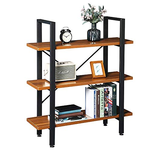 GreenForest Bookshelf 3-Tier Rustic Wood and Metal Bookcase for Home and Office Storage Bookshelves - Tier Etagere 3