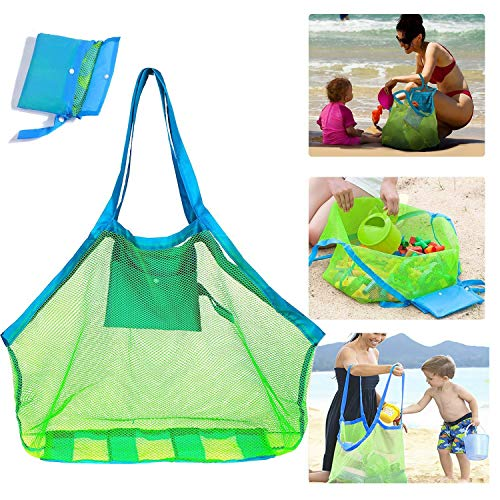 🥇 Mesh Beach Bag Bolsa de Playa de Malla Extragrande para Guardar Juguetes de Playa