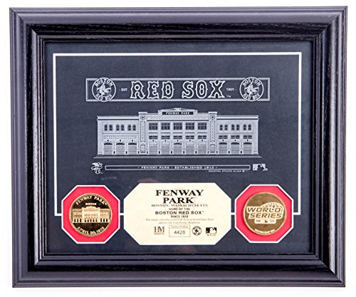AUTHENTIC APPAREL MLB Boston Red Sox Framed Fenway Park Archival Etched Glass Panel with 24ct Gold Medallions
