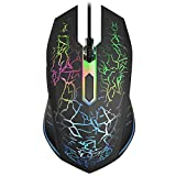 VersionTECH. RGB Gaming Mouse, Ergonomic USB Wired Optical Mouse Mice with 7 Colors LED Backlight, 4 DPI Settings Up to 2400 DPI, 6 Programmed Buttons for Laptop PC Computer Games & Work –Black